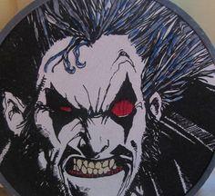 Lobo of DC Comics hand embroidery by Koko Kreepies.