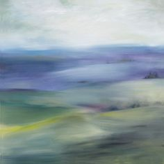 Tuscan Meadow (000319) - Arthouse Art - A beautiful colour wash image of the Tuscan countryside in rich jewel blues and greens against a grey sky. Canvas size 90 x 90 x 3cm deep.