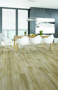 """Need some wood look laminate flooring ideas? Look no further than our Trendsetter 7.48"""" Water Resistant Laminate in Barcelona. This water resistant laminate distressed European Oak visuals provide a truly realistic wood look. It retails starting at $1.99 SQ FT."""