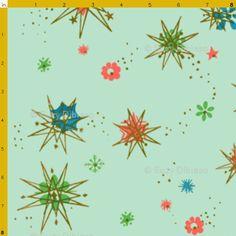 ATOMIC mint vintage retro 50s 60s franciscan starburst textile fabric starburst pinup rockabilly cotton green blue quilting 1950's