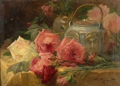 Henri PRIVAT-LIVEMONT said LIVEMONT (Brussels, 1861-1936) Still Life with teapot and roses Oil on canvas 40 x 55 cm Signed lower right