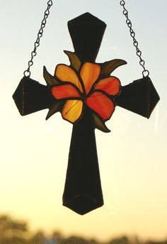 Stained Glass Cross with a  Yellow and Orange by glassnwood