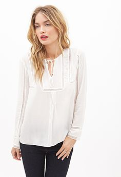 Lace Trimmed Peasant Top | FOREVER21 - 2000066393