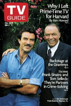 Frank Sinatra, Tom Selleck in MAGNUM P.I. -1987 TV GUIDE