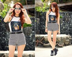 Miss Mannequin Rottweiler Top, Priceless Possessions Printed Shorts, Luxury Mall Moto Boots