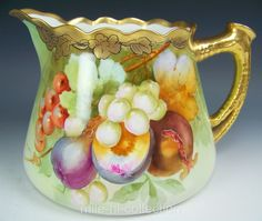 "PICKARD STUDIO ON LIMOGES PORCELAIN HAND PAINTED FRUITS CIDER PITCHER ""WALTERS"""