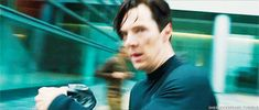 GIF: Oh that hair! from Cumberbatch Coffee Klatch. The errant curl strikes again!