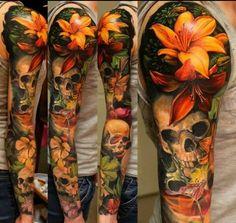 Pin de jessy sanchez em tattoos lily tattoo design, lillies tattoo e nature Lily Tattoo Design, Flower Tattoo Designs, Tattoo Designs Men, Natur Tattoo Arm, Natur Tattoos, Bild Tattoos, Body Art Tattoos, Cool Tattoos, Tatoos