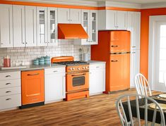 Orange and white is a popular color scheme for retro designs by Big Chill