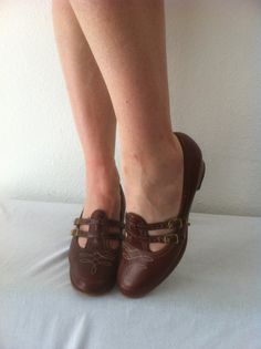 mary jane shoes / leather oxfords / stacked heels / heeled brogues $30