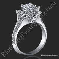 Lotus Ring 8 Petal 1.00 ct. Diamond Band Flower Ring<br>$2999