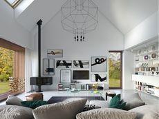 DOM.PL™ - Projekt domu DZW Odważny 2 CE - DOM DW1-90 - gotowy koszt budowy Good House, Modern House Design, Gallery Wall, Cottage, Exterior, Ceiling Lights, Architecture, Home Decor, Samara