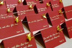 Origami cranes attached to escort cards. One thousand origami cranes symbolize good luck to the bride and groom. Origami Cards, Origami Paper, Origami Wedding, Wedding Paper, Wedding Blog, Our Wedding, Wedding Ideas, Party Wedding, Wedding Table