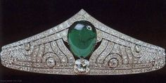 Grand Duchess Charlotte of Luxembourg married Prince Felix of Bourbon Parma in 1919. According to Rene Brus, Chaumet made this impressive tiara in 1926. A large cabochon emerald is the focal point, surrounded by a geometrical art deco series of motifs, filled with diamonds of various sizes.