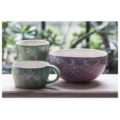 Juego de vaso, bowl y tacita. Para el desayuno o merienda. #bosqueypajaritos #horadelte . . . . . #ceramicaartesanal #pottery #cosaslindas #piezasunicas #regalosunicos #tazasdeanimales #ceramicailustrada #ceramica #ceramics #hechoamano #madewithlove