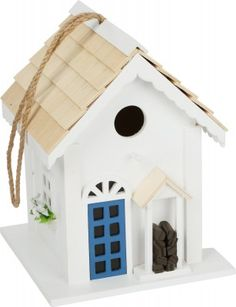 Wooden Birdhouse Country Cottage Style For Hanging Up, Decorative Nesting Box For The Garden Cottage Style, Bird Houses, Maui, Outdoor Decor, Design, Building, Nest Box, Crates, Wood