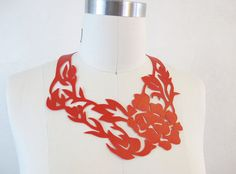 Chrysanthemum  Faux Leather Cut Out Necklace  by TheGildedTroll, $25.00