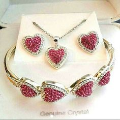 """3pc Pink Crystal Heart Necklace Earrings & Bangle Brand new with tags in original gift box MSRP $416.63 plus tax  Genuine Crystal and Pure Silver over brass 3pc Heart Set,  includes :  - 18"""" chain necklace with heart pendant  - Heart Studs Earrings  - Bangle Bracelet with hearts   This set is stunning! Pictures doesn't make justice! You won't be disappointed,  this are the real deal,  a pristine,  marvelous gift for anniversary, birthday, Christmas, wedding, bachelor party  perfect for…"""