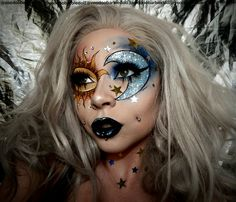 CELESTIAL @milk1422 Face Chart recreation | FOLLOW ME ON INSTAGRAM @voodoobarbiedoll | Facechart, Facecharts, Face chart makeup, SFX, Special Effects, Instagram makeup, Glam, Glamorous, Beauty, Beauty Blogger, Jeffree Star Cosmetics, Star Crushed Minerals, Glitter, Glitter makeup, Sparkles, Halloween makeup, Sun and moon, Space makeup, Galaxy makeup, Kat Von D Beauty, Goth makeup, lace front wig