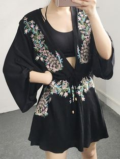 Flower Embroidery Plunging Neck Dress
