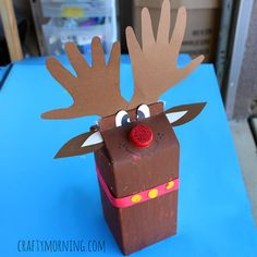 Make a milk carton reindeer craft for kids! This is a fun christmas art project for them to make using an almond milk container.
