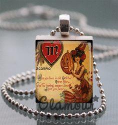 Scorpio Halloween October Pin Up Witch Scrabble Tile Pendant Necklace | c0nfus3dgurl - Jewelry on ArtFire