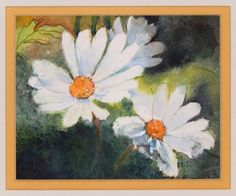 White Flower Still Life Watercolor Painting Small by M Castillo Double Matted  #Expressionism