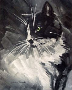 Original loose, sketchy oil painting of a Tuxedo cat, 11 x 14 by Diane Irvine Armitage.