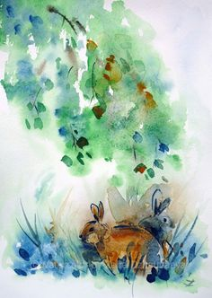 ARTFINDER: Rendezvous by Zaira Dzhaubaeva - Original watercolor painting on paper.  Two cute rabbits in impressionist style.  Please note that the colors of the original paintings are always slight...
