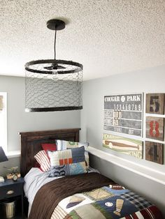 do it yourself Restoration Hardware chicken wire light fixture for boys' bedroom