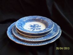 Spode Copeland Camilla Blue Transferware 4 pcs Vintage England Dinnerware