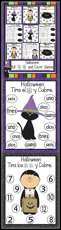 Celebrate Halloween with this cute independent center.    Students roll 1,2 or 3 dice, add the numbers, and cover up the sum. First to cover all their numbers, wins!    Each game board has the number of dice to roll.   The following is what is included by page number.    4: Black Cat Mat-1 dice version  5: Black Cat Mat- Number word (1 dice version)  6: El gato negro- 1 dice version  7: El gato negro- Number word (1 dice version)