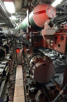 This is a view of the torpedo room of the Seawolf class fast attack submarine Jimmy Carter as seen at the U.S. Navy Submarine Base in Groton, Conn., Friday, Feb. 18, 2005. The Jimmy Carter, the last of the Seawolf class boats, is to be commissioned Saturday, Feb. 19, 2005. (AP Photo/Bob Child)