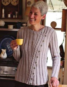 Вязание спицами для женщин жакета с асимметричной застежкой Classic Slant