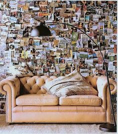 Lots of postcards ... or a cork board wall from top to bottom filled with pictures (circa 1980) :)