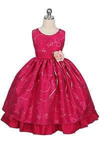 #FlowerGirlDresses - Flower Girl Dress Style 142- Hot Pink Sleeveless Sparkle Dress