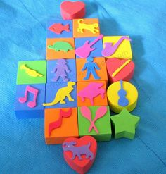 DIY Stamps from Foam Counting blocks and Foam Stickers. 5 stars! - Re-pinned by #PediaStaff.  Visit http://ht.ly/63sNt for all our pediatric therapy pins