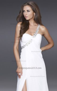 3cf054b551 White Evening Gown by La Femme 15361 Style  Name  One Shoulder 2012 Prom  Dress Closure  Zipper Details  Beaded Feature