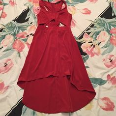 Hi-Low Cut Out maxi dress Color: Morange Style: Maxi cut out Fit: Loose   Condition: Worn only a few times  How to Wear: Casually with wedges or pumps  NO trades, NO PayPal, and will consider reasonable offers ❤️❤️ NOT BM, just for listing Brandy Melville Dresses High Low