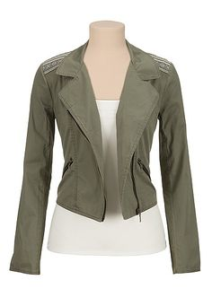 Printed shoulder lightweight moto jacket (original price, $49) available at #Maurices