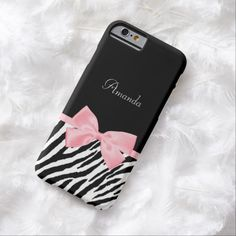 Get your fashionista on with this chic and stylish animal print slim #iPhone6case. This fashion accessory has a trendy black and white zebra print and a soft feminine light pink ribbon tied into a cute girly bow. Personalize by adding the name of your teen girl. Flat printed image, not actual ribbon.