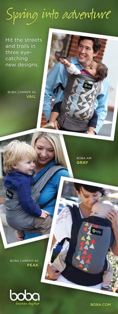 Say hello to 3 fab new Boba designs just in time for summer adventure! Peak, Gray and Vail. Boba Baby Carrier, Baby Wrap Carrier, Stylish Baby, Babywearing, Baby Wraps, Say Hello, Adventure, Gray, Summer