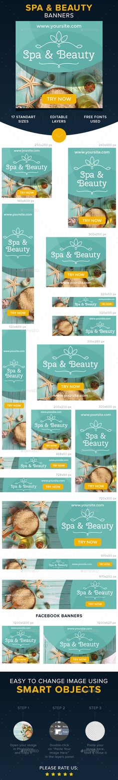 A set of Banners Spa & Beautyis comes with 17 standard dimensions which also meet Google adwords banners sizes and included Facebo