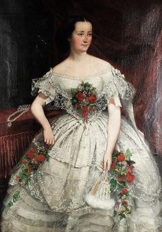 Portrait of A Lady by Joseph Hussenot,1856