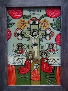 Icoane pe Sticla Religious Icons, Religious Art, Byzantine Icons, Art Icon, Folk Art, Glass, Artwork, Pictures, Painting