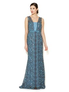 Embroidered Lace Column Gown