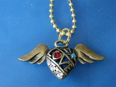 OOAK! LOVE, Heart & Wings Charm, with Crystal Accents, Pendant Necklace! Heart with Wings, Valentine, Teens, Woman's, Mother's Day Gift