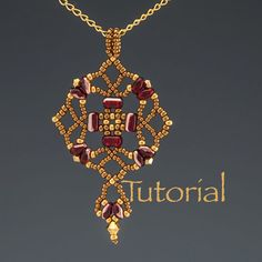 Beadwoven Pendant Tutorial Tulipan by JewelryTales on Etsy, $5.00