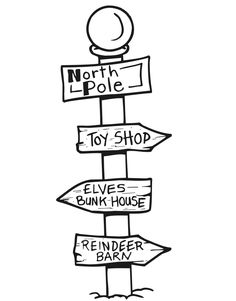 Printable Christmas Coloring Page Of A North Pole Signpost