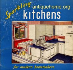 https://flic.kr/p/4mpPrx | Sparkling Kitchens - Kitchen Designs of the 1940s and 1950s | Sparkling Kitchens for modern homemakers! 17 vintagekitchen design ideas for your home. Includes laundry rooms from the late forties-early fifties.   See the Set  Ranch Style House Plans